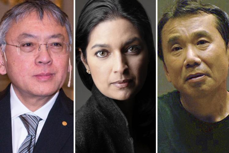 collage of Haruki Murakami (left), Jhumpa Lahiri (Centre) and Kazuo Ishiguro (right)