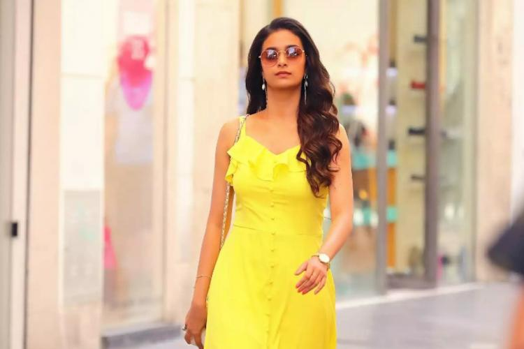 Keerthy Suresh from Miss India film dressed in a yellow dress