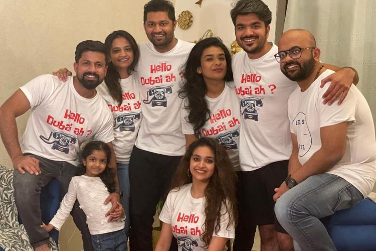 Keerthy Suresh in a white top with a group of her friends also dressed in white