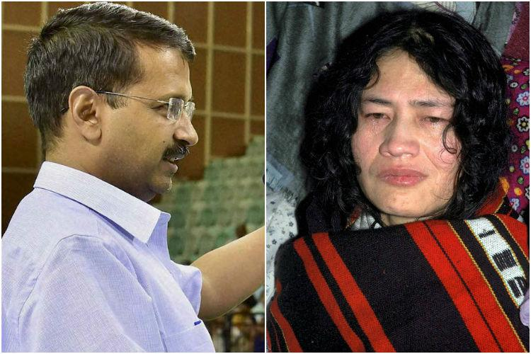 Arvind Kejriwal donates Rs 50000 to Irom Sharmilas party