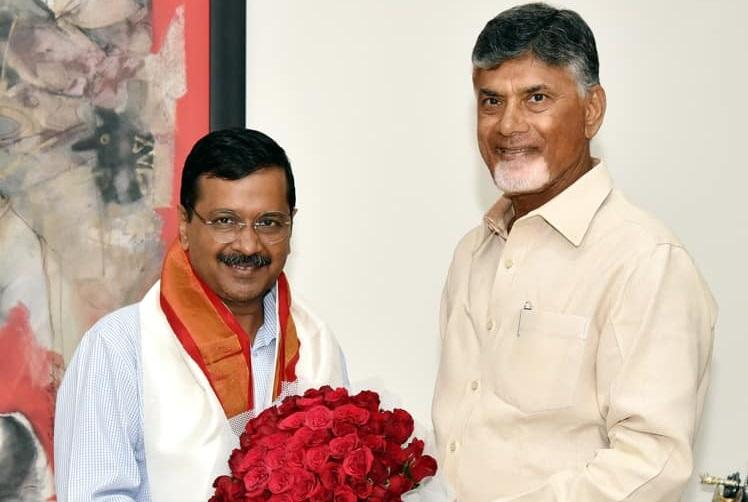Kejriwal meets Andhra CM Naidu in Amaravati duo discuss anti-BJP front