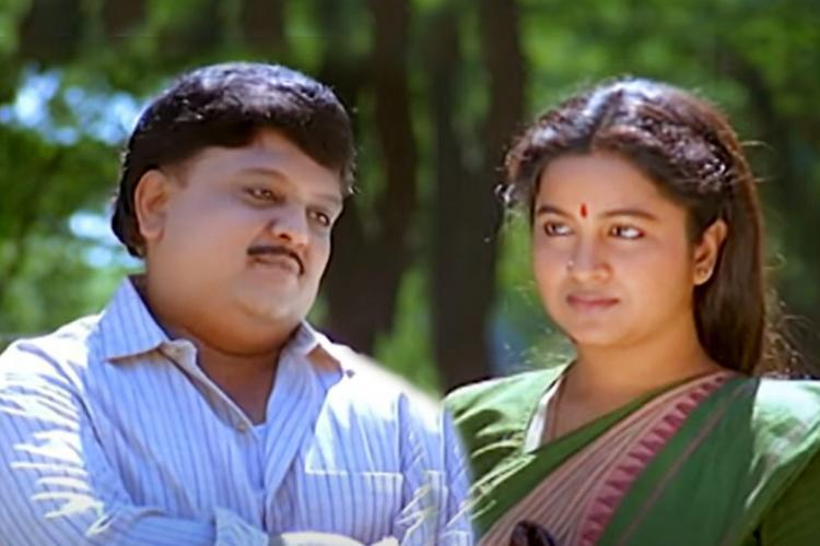 Singer SPB and actor Radikaa collage from 'Keladi Kanmani' movie