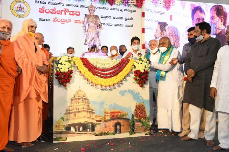 Foundation stone laid for 108-ft statue of Bengaluru founder Kempegowda at airport