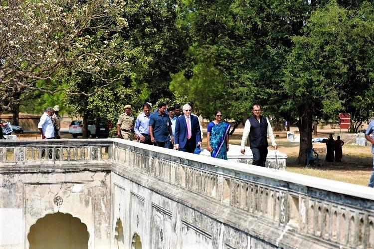 US Ambassador visits Hyds Qutb Shahi Tombs sees ongoing restoration work