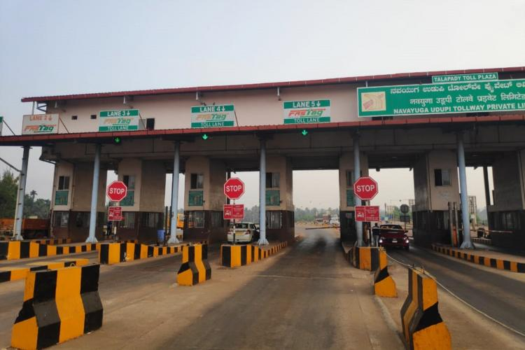 A toll booth at the border of Kerala and Karnataka in India