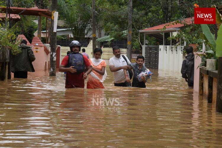 An image of the deluge in Kerala in 2019