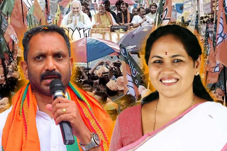 A collage of BJP Kerala chief K Surendran on the left and Karnataka MP Shobha Karandlaje on the right