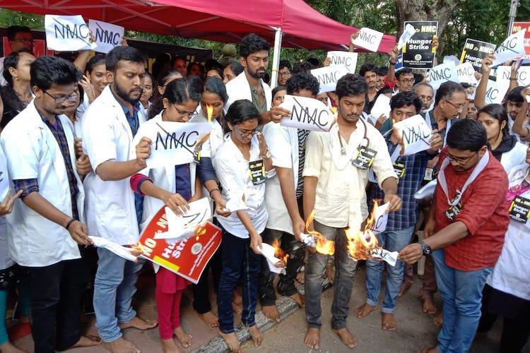 Kerala medical students protest against pro-rich Medical Bill burn copies