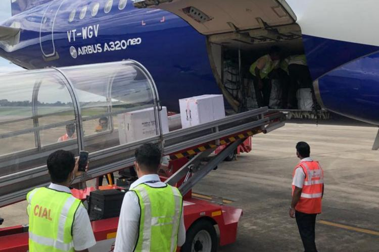 Airport staff members transporting vaccine shipments from an aircraft
