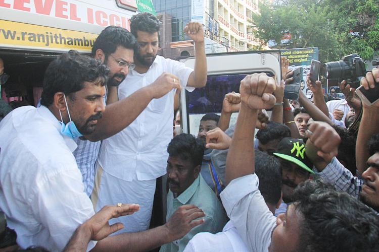 Congress MLAs Kerala Sabarinath and Shafi Parambil being shifted to hospital in an ambulance