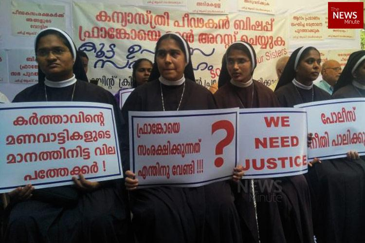 5 Catholic nuns forced to protest as cops drag feet on arresting rape accused bishop