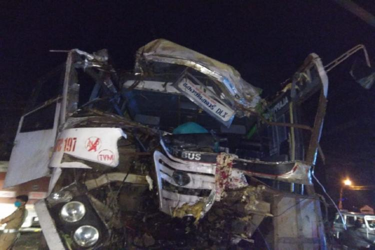 Front portion of a completely damaged Kerala RTC Bus