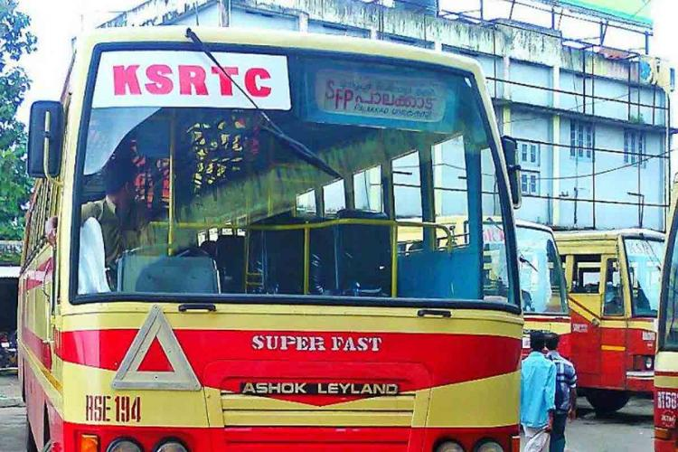 Kerala RTC bus parked at bus stand