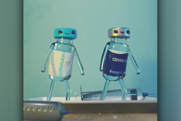 Two little vaccine bottles dance in an animated video
