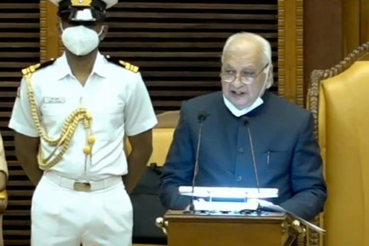 Kerala Governor Ariff Mohammad Khan Delivering Address during the first session of the 15th Kerala Legislative Assembly
