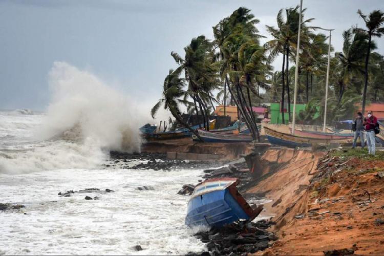 Turbulent waves crashing onto a sea shore