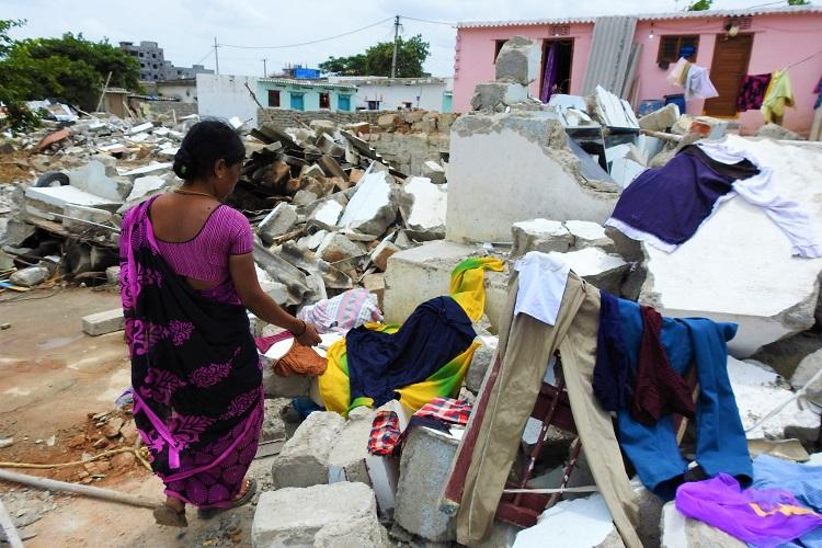 Ground report Authorities raze houses in Hyderabad slum 60 families homeless