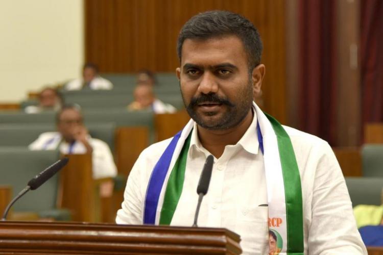 Dharmavaram MLA Kethireddy Venkata Rami Reddy speaking into the mic in the Andhra Pradesh Legislative Assembly