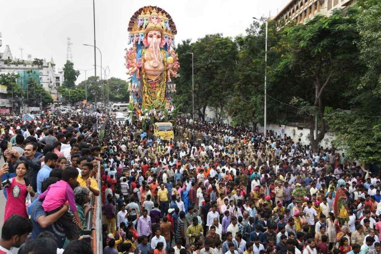 The procession of a Ganesh statue before its immersion