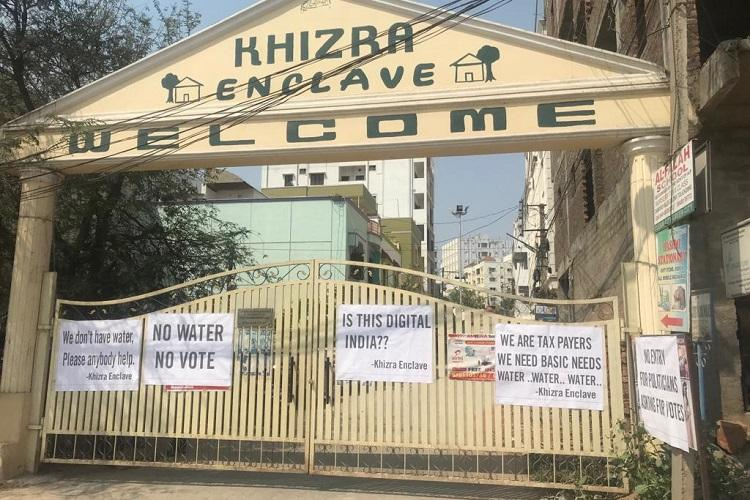 No water no vote Close to Hyderabads IT hub a colony protests apathy