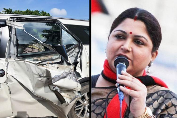 Khushboo and her damaged car collage
