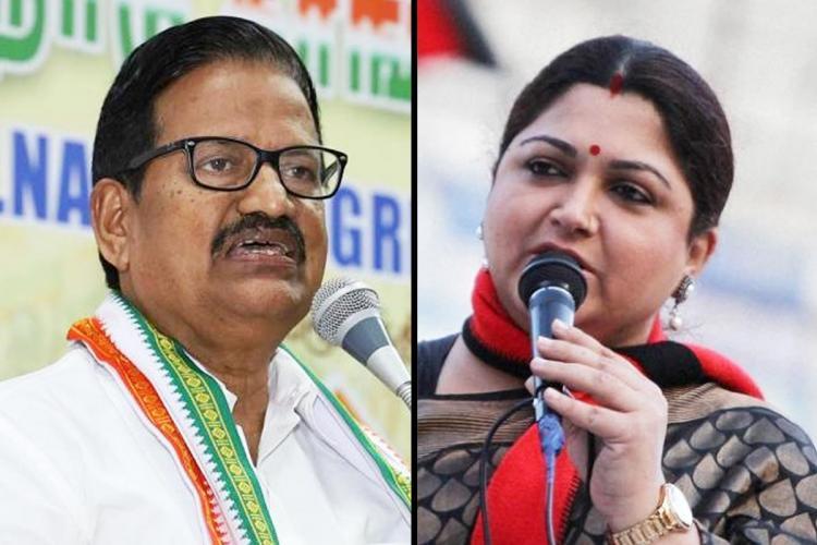 Congress Tamil Nadu President KS Alagiri and BJP leader Khushboo
