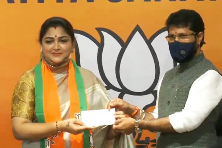 The former Congress spokesperson Khushboo joined BJP