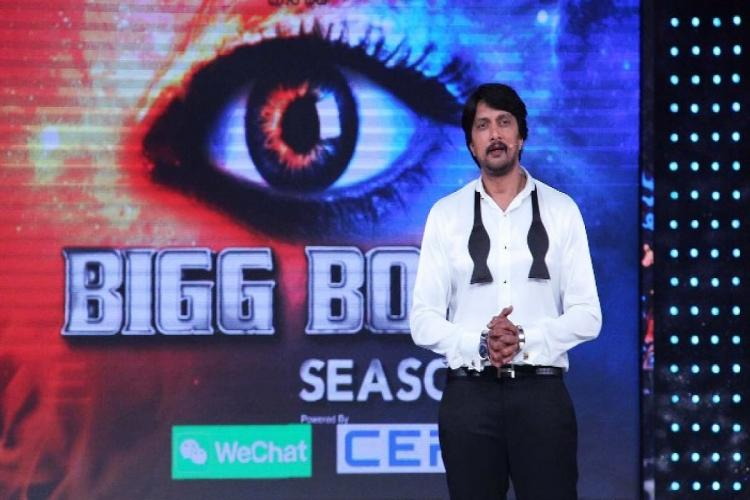 Kichcha Sudeep is seen hosting Bigg Boss Kannada