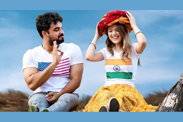 A poster from Kilometers and Kilometers featuring Tovino Thomas India Jarvis