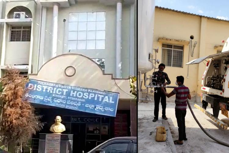 A collage of the board outside King Koti hospital and a photo of oxygen being refilled from the tanker