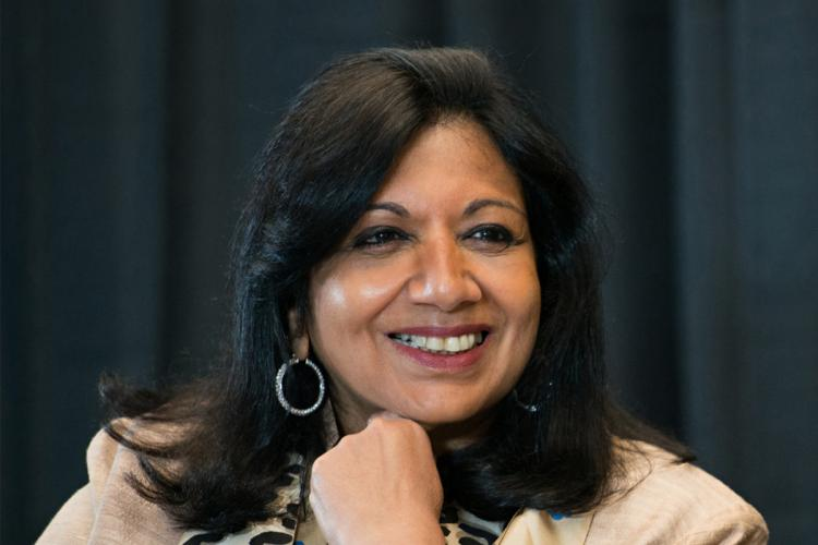 File pic of Biocons Kiran Mazumdar Shaw smiling and looking to her left at an event