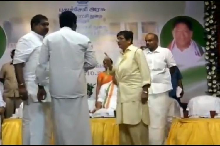 Kiran Bedi and MLA argue on stage MLA walks out after screaming at her