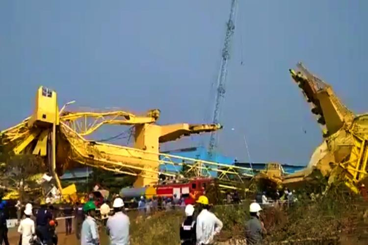 One killed 10 injured as heavy-duty cranes collapse at Andhras Kakinada port