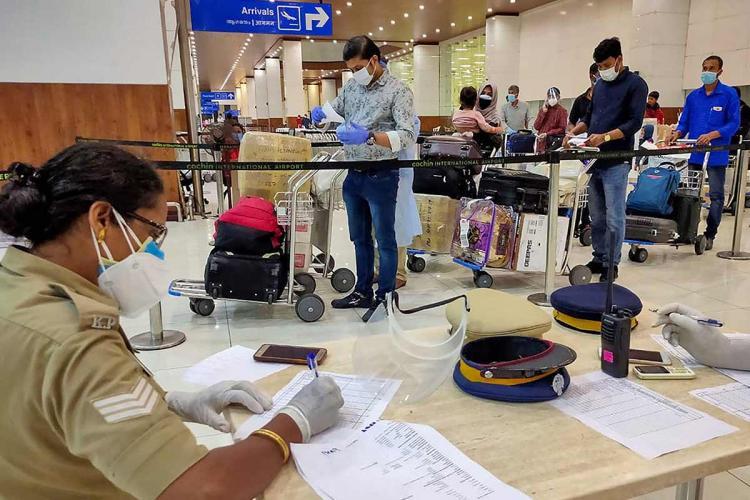 Passengers arriving at Kochi airport