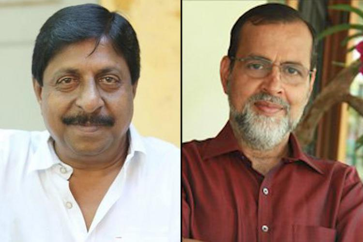 A collage of actor Sreenivasan and Kochouseph Chittilappilly