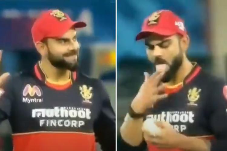 Kohli inadvertently applying saliva to the ball