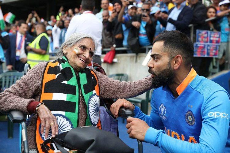 Kohli meets 87-yr-old fan Charulata Patel seen cheering for India at Edgbaston