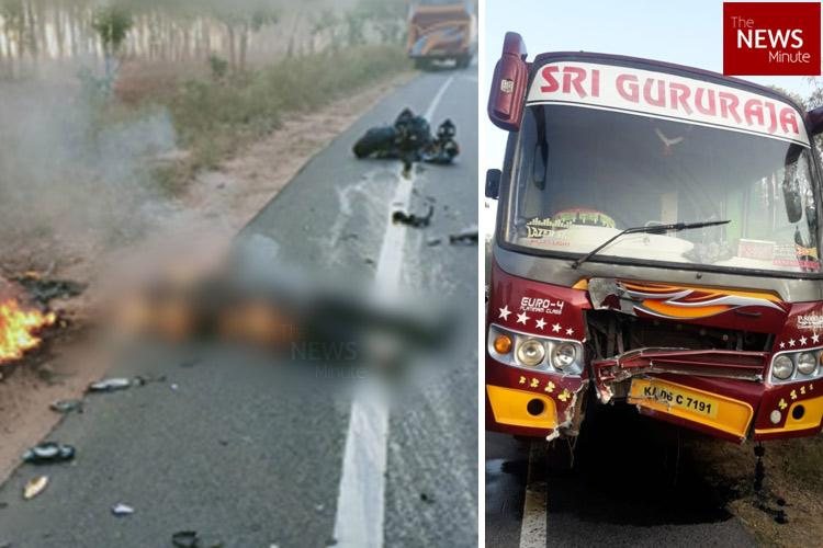 Karnataka youth charred to death after bike collides with private bus
