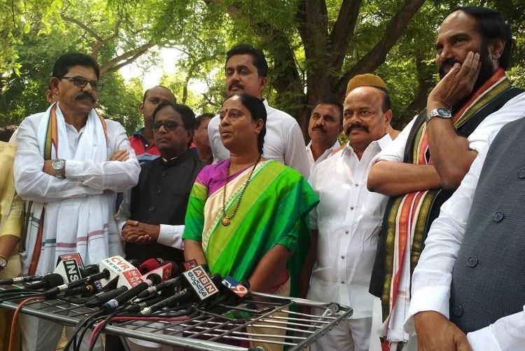 Days after internal revolt in TRS Konda Surekha and husband join Congress