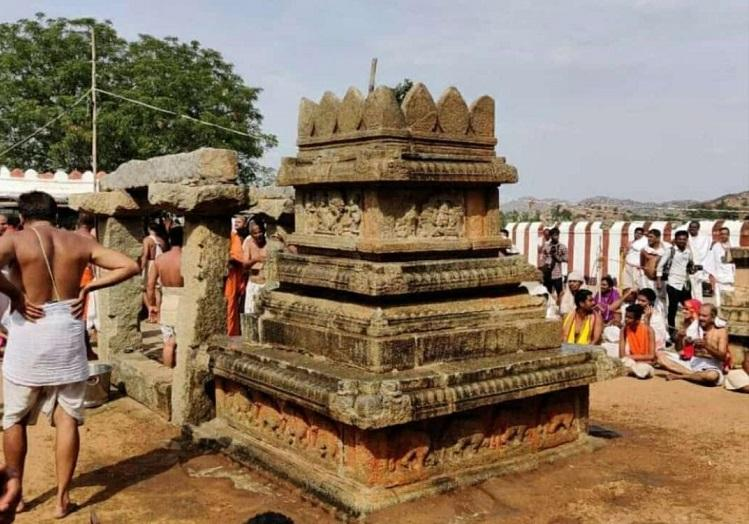 Vandalised structures at holy site of Nava Brindavana near Hampi restored by devotees