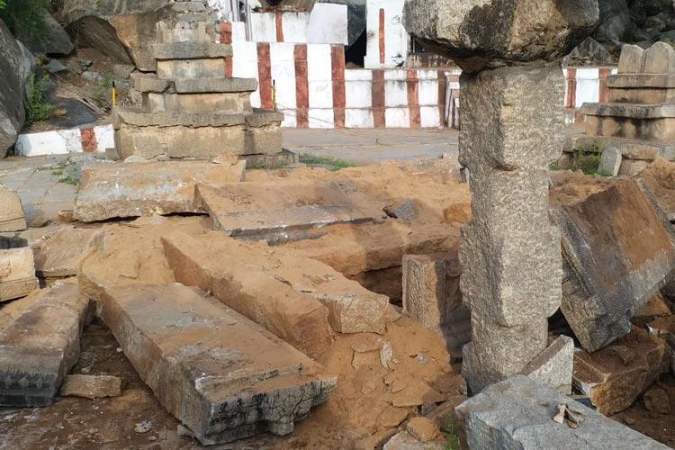 Holy site of Nava Brindavana near Karnatakas Hampi desecrated police look for vandals
