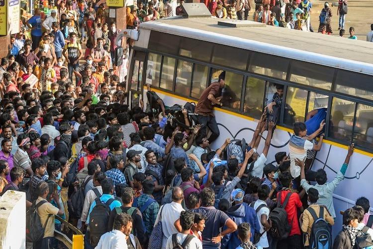 Chennai lockdown brings crowds to Koyambedu bus terminus as many seek way to hometowns