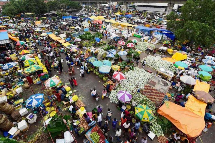 A high angle shot of Chennais Koyambedu market