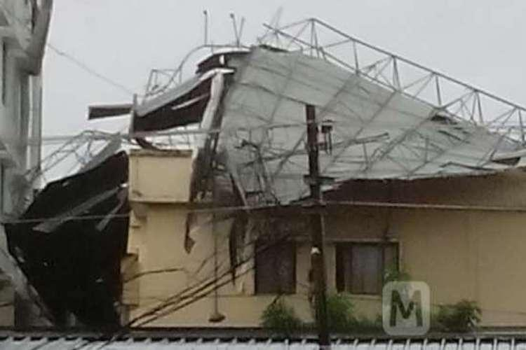 Heavy winds blow away massive iron rods which fly and crash into Kerala school