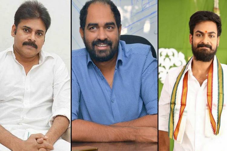Collage of Krish, Pawan Kalyan and Vaishnav Tej