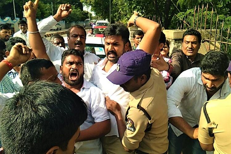 Telangana Congress protests against new Secretariat at Bison Polo Ground members detained