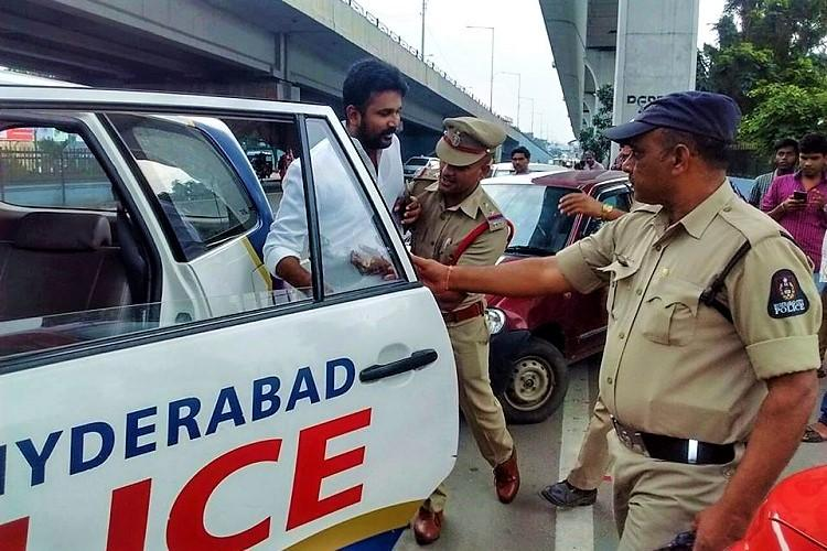 Hyderabad police detain Congress activists protesting against SRDP flyover at Parade Ground