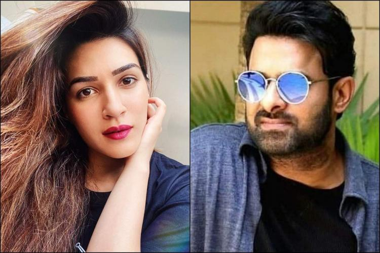 A collage of Kriti Sanon and Prabhas