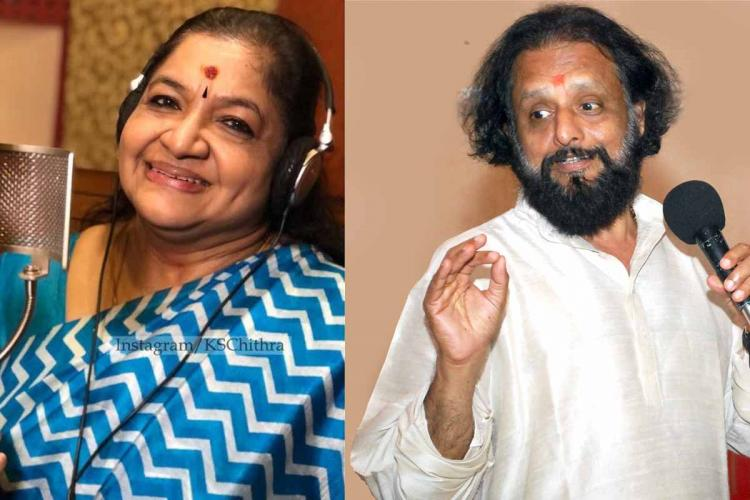 In a collage Chithra in a blue and white Sari is singing in a studio and Kaithapram in white shirt is singing