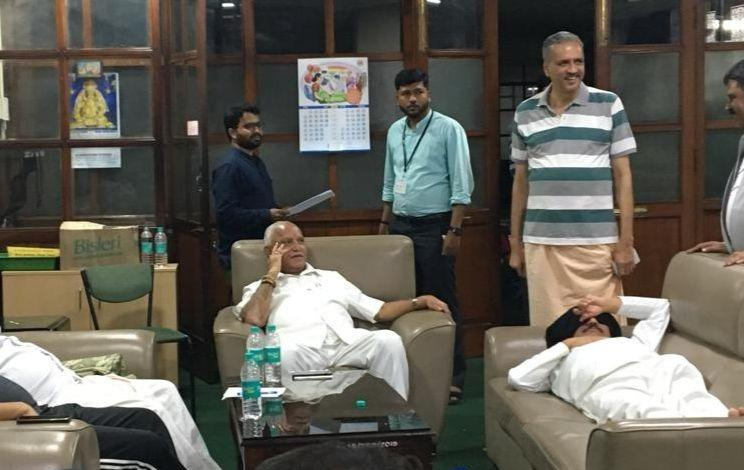 A different kind of floor test Karnataka BJP MLAs spend the night in Assembly